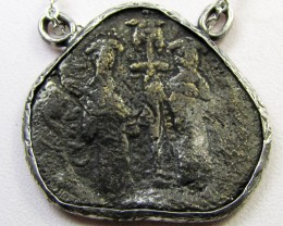 ANCIENT GREEK  BYZANTINE  COIN IN  PENDANT CO 1129
