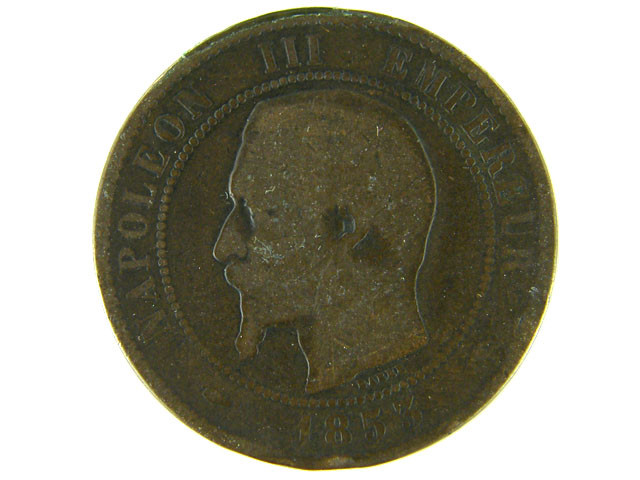 FRANCE LOT 1, 1853 DIX CENT COIN T587
